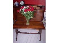 Vintage retro mahogany lyre pedestal / base coffee table, occasional table, Edinburgh