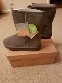 Dude boots Brand new with box! Size 4 Charcoal grey
