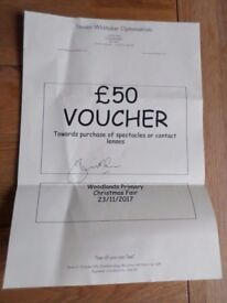 £50 voucher towards purchase of spectacles or contact lenses