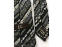 Dunhill Tie For Mens Black with Grey Stripe