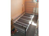 2x metal framed single beds
