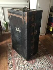 "Large Vintage Steam Trunk Wardrobe And Storage H39.75"" W14.5"" D22.5"""