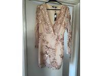 Brand new Boohoo gold dress size 14 never worn
