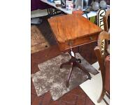 Antique walnut side table with drawer