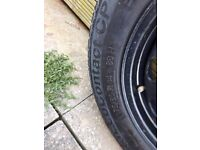 Spare wheel including tyre.