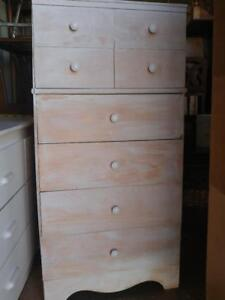 "Oakville High Dresser 48x24x14"" Rustic Shabby Chic White knobs Solid Wood Tall Streaky Painted Chest of 6 drawers Storag"