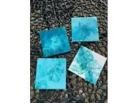 Set of 4 original ceramic tiles by the artist Lauraine Charnley.