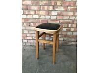 Mid Century black vinyl and wood stool vintage