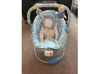Blue vibrating/musical baby chair/seat