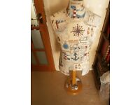 Nautical decoupaged mannequin with stand