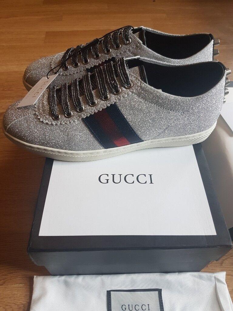 9dd5e290887 Gucci classic Women s Glitter Web Sneaker with studs (Silver)