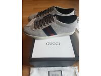 Gucci classic Women's Glitter Web Sneaker with studs (Silver)