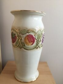 Tall vase 18 inches tall, pretty with pictures ofruit, cream coloured. £20