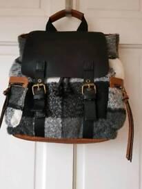 Black/Grey and White Soft Plaid/Tan Backpack style handbag