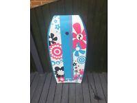 Blue,white,pink and black flower pattern bodyboard