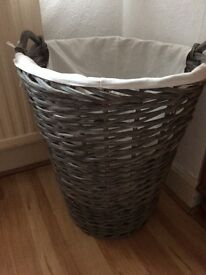 Marks and spencer solid grey wicket linen basket cotton liner new £15
