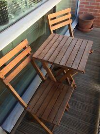 3 piece wooden patio set