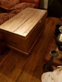 Old vintage gold trunk coffee table/storage bedroom