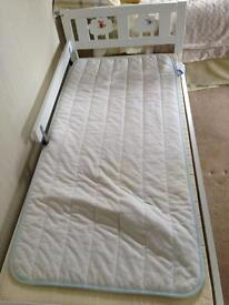 Toddler bed with mattress + topper