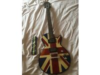 Noel Gallagher stole Union Jack guitar (plus strap.)