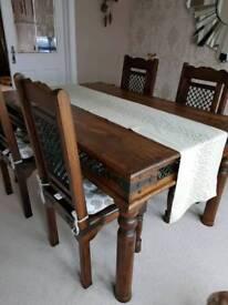 Solid dark oak dining table set