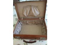 Antique Ladies Leather Suitcase with Silk Lining
