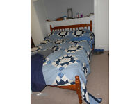 Double bed, wood frame, mattress topper