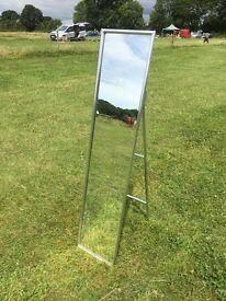 Silver tubular freestanding cheval mirror