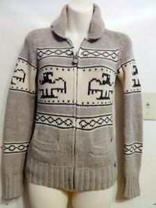 "NEW XS COWICHAN TYPE SWEATER CARDIGAN - HAND-KNITTED - ZIP JACKET 100% LAMBSWOOL WOOL Fits 30"" TNA Made by hand"