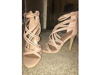 Nude pink heels shoes straps zip size 5