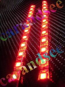 2 bande auto moto a 12 led rouge 20 cm smd5050 12 volts eclairage tuning ebay. Black Bedroom Furniture Sets. Home Design Ideas