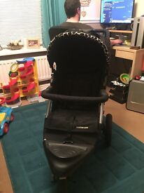Beautiful pram with matching car seat for new born and rain covers. Good condition