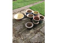 Various sized ceramic plant pots