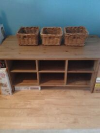 IKEA large coffee/storage table with 3 wicker baskets