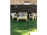 Garden set, 4 piece including Bench, 2 x Chairs and Coffee table, Rustic and very sturdy