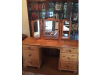 Retro Solid Pine Dressing table with 6 Drewers plus folding Mirror