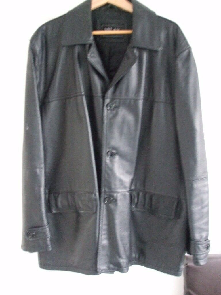 GENTS LEATHER JACKET, SOFT LEATHER WITH BLACK LINING, SIZE XL-XXL