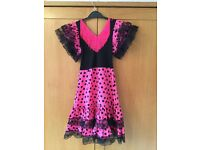 Bright Pink Flamenco Dressing Up Outfit (age 6-7)