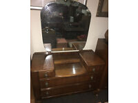 Attractive Vintage Art Deco Two Piece Bedroom Set Chest of 4 Drawers and Dressing Table with Mirror