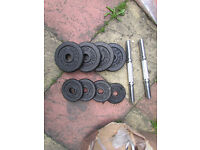 dumbell set with weights 4x2,5kg,4x1,25kg missing nuts