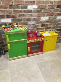 Melissa and Doug Wooden Kitchen units with accessories etc