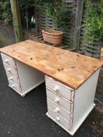 White vintage wooden desk