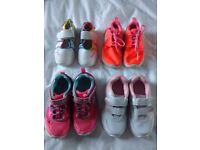 4 pairs of girls trainers Sizes 8 & 8.5
