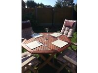 Nova Hard Wood Patio Table and 4 Reclining Chairs with cushions