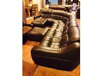 real quality brown leather- low- corner suite+ footstool