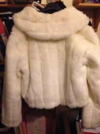 White/cream faux fur jacket