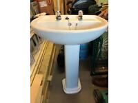 Basin and Pedestal in white with taps