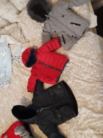 baby boy winter bundle jackets snow suit cardigans 6-9 month next jasper ran m&s