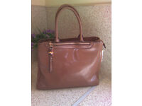 David Jones Paris Caramel Faux Leather Tote Bag
