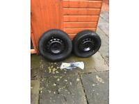 2 brand new steel wheels, tyres and jacks